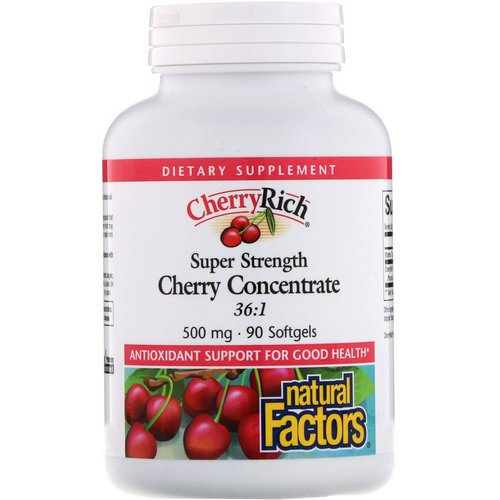Natural Factors, CherryRich, Super Strength Cherry Concentrate, 500 mg, 90 Softgels فوائد