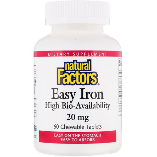 Natural Factors, Easy Iron, Fruit Flavor, 20 mg, 60 Chewable Tablets فوائد