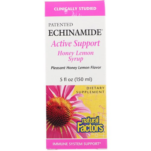 Natural Factors, Echinamide Active Support, Honey Lemon Syrup, 5 fl oz (150 ml) فوائد