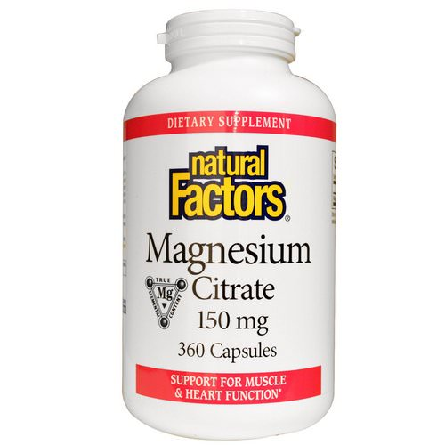 Natural Factors, Magnesium Citrate, 150 mg, 360 Capsules فوائد