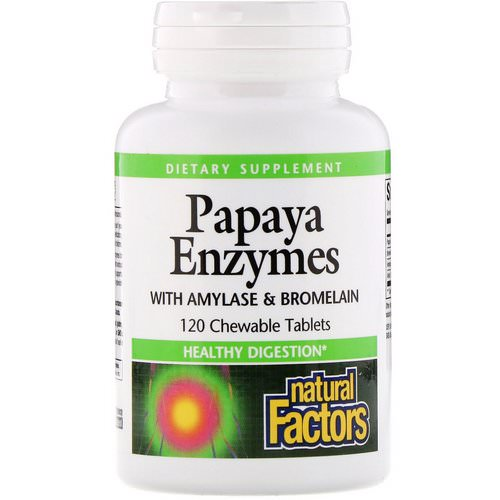 Natural Factors, Papaya Enzymes with Amylase & Bromelain, 120 Chewable Tablets فوائد