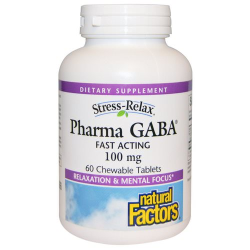 Natural Factors, Stress-Relax, Pharma GABA, 100 mg, 60 Chewable Tablets فوائد
