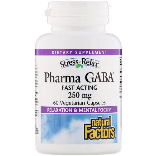 Natural Factors, Stress-Relax, Pharma GABA, 250 mg, 60 Vegetarian Capsules فوائد