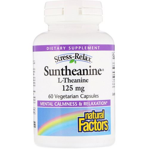 Natural Factors, Stress-Relax, Suntheanine, L-Theanine, 125 mg, 60 Vegetarian Capsules فوائد