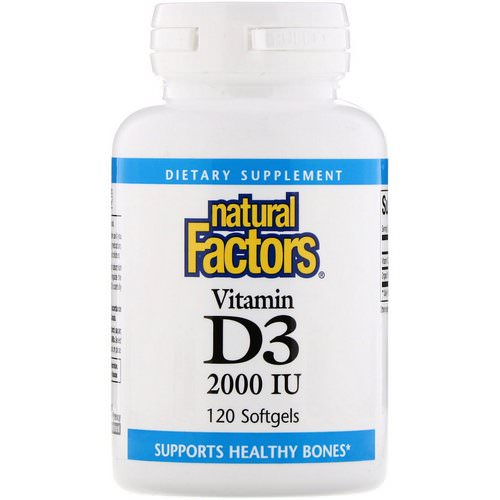 Natural Factors, Vitamin D3, 2000 IU, 120 Softgels فوائد