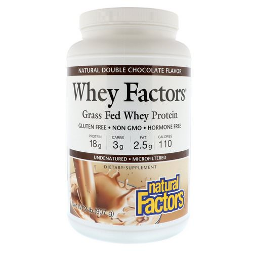 Natural Factors, Whey Factors, Grass Fed Whey Protein, Natural Double Chocolate Flavor, 2 lbs (907 g) فوائد