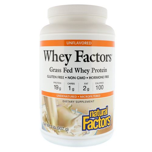Natural Factors, Whey Factors, Grass Fed Whey Protein, Unflavored, 2 lbs (907 g) فوائد