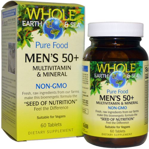 Natural Factors, Whole Earth & Sea, Men's 50+ Multivitamin & Mineral, 60 Tablets فوائد