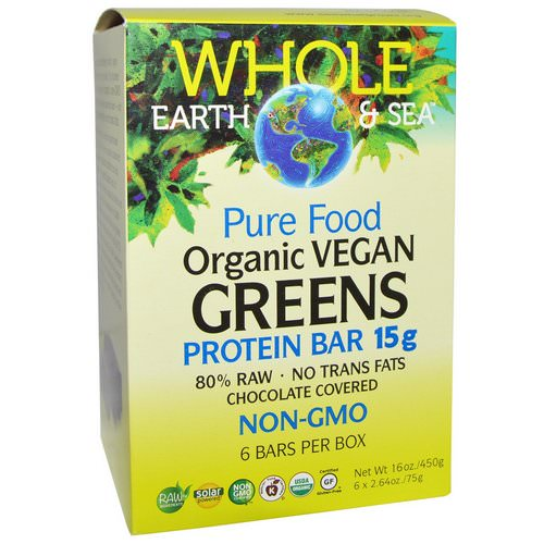 Natural Factors, Whole Earth & Sea, Pure Food Organic Vegan Greens Protein Bars, Chocolate Covered, 6 Bars, 2.64 oz (75 g) Each فوائد