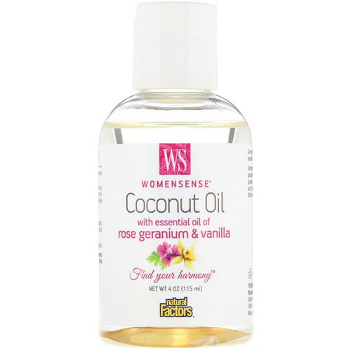 Natural Factors, WomenSense, Coconut Oil with Essential Oil of Rose Geranium & Vanilla, 4 oz (115 ml) فوائد
