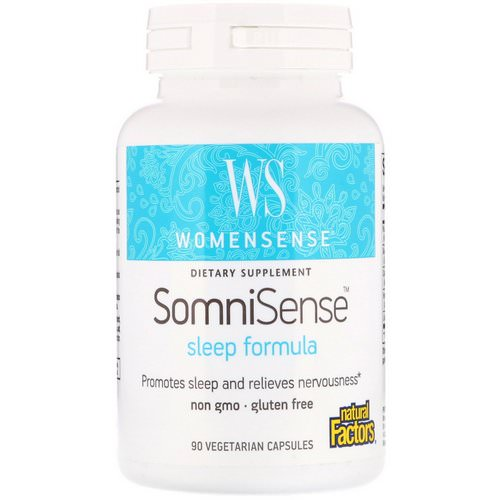 Natural Factors, WomenSense, SomniSense, Sleep Formula, 90 Vegetarian Capsules فوائد