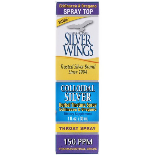 Natural Path Silver Wings, Colloidal Silver, Herbal Tincture Throat Spray, 150 PPM, 1 fl oz (30 ml) فوائد