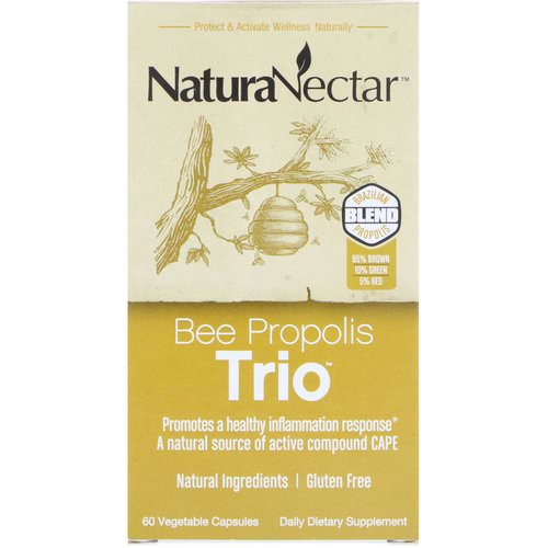 NaturaNectar, Bee Propolis Trio, 60 Vegetable Capsules فوائد