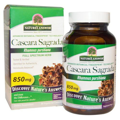 Nature's Answer, Cascara Sagrada, Full Spectrum Herb, 850 mg, 90 Vegetarian Capsules فوائد