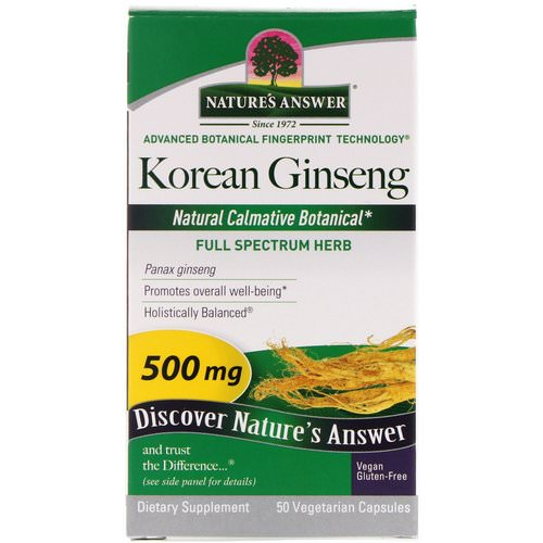 Nature's Answer, Korean Ginseng, 500 mg, 50 Vegetarian Capsules فوائد