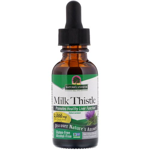 Nature's Answer, Milk Thistle, Alcohol-Free, 2,000 mg, 1 fl oz (30 ml) فوائد