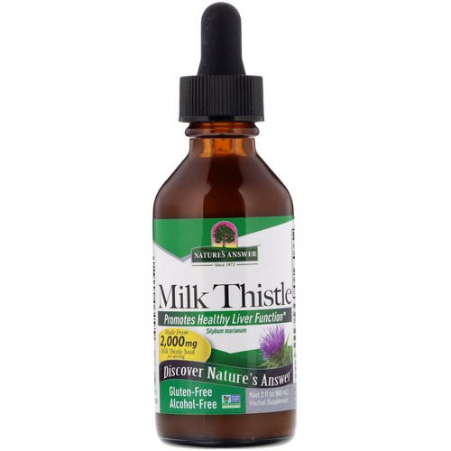 Nature's Answer, Milk Thistle, Alcohol Free, 2,000 mg, 2 fl oz (60 ml) فوائد