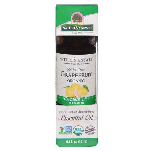 Nature's Answer, Organic Essential Oil, 100% Pure Grapefruit, 0.5 fl oz (15 ml) فوائد