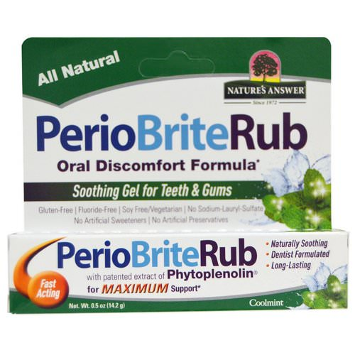 Nature's Answer, PerioBriteRub, Soothing Gel for Teeth & Gums, Cool Mint, 0.5 oz (14.2 g) فوائد