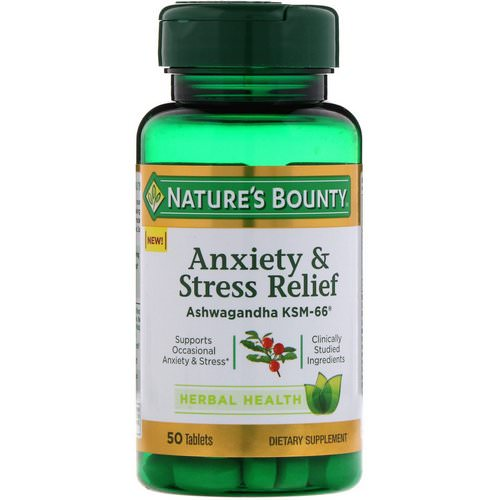 Nature's Bounty, Anxiety & Stress Relief, Ashwagandha KSM-66, 50 Tablets فوائد