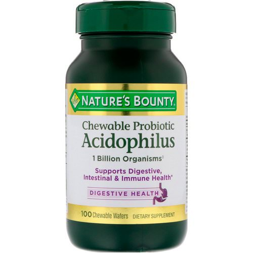 Nature's Bounty, Chewable Probiotic Acidophilus, Natural Strawberry Flavor, 100 Chewable Wafers فوائد