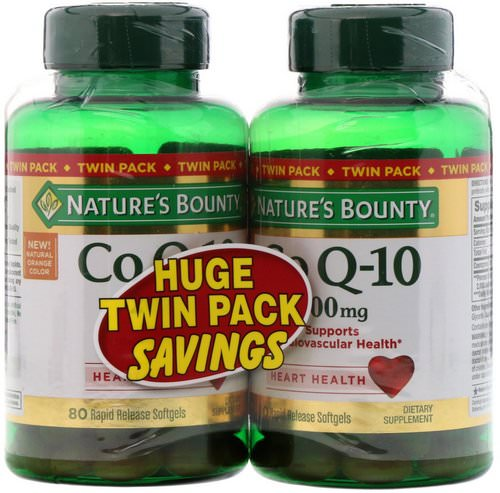 Nature's Bounty, Co Q-10, Twin Pack, 200 mg, 80 Rapid Release Softgels Each فوائد
