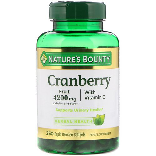 Nature's Bounty, Cranberry, With Vitamin C, 250 Rapid Release Softgels فوائد