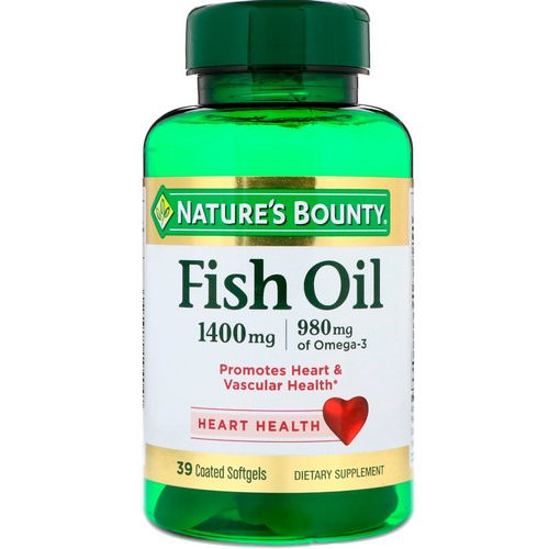 Nature's Bounty, Fish Oil, Triple Strength, 1400 mg, 39 Coated Softgels فوائد