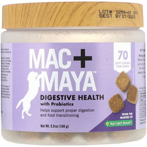 Nature's Bounty, Mac + Maya, Digestive Health with Probiotics, For Dogs, 70 Soft Chews فوائد