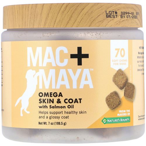 Nature's Bounty, Mac + Maya, Omega Skin & Coat with Salmon Oil, For Dogs, 70 Soft Chews فوائد