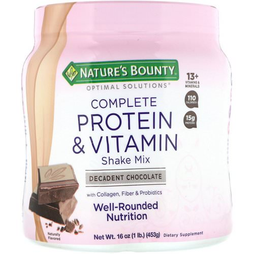 Nature's Bounty, Optimal Solutions, Complete Protein & Vitamin Shake Mix, Decadent Chocolate, 16 oz (453 g) فوائد