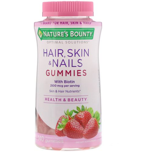 Nature's Bounty, Optimal Solutions, Hair, Skin, & Nails, Strawberry Flavored, 2500 mcg, 140 Gummies فوائد