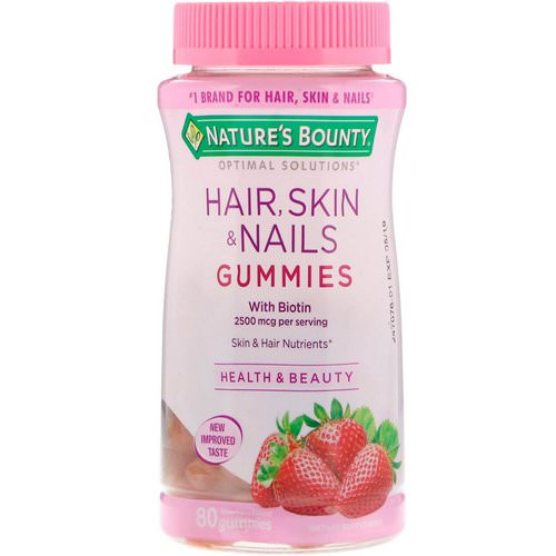 Nature's Bounty, Optimal Solutions, Hair, Skin & Nails, Strawberry Flavored, 80 Gummies فوائد