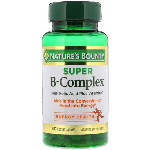 Nature's Bounty, Super B-Complex with Folic Acid Plus Vitamin C, 150 Coated Tablets فوائد