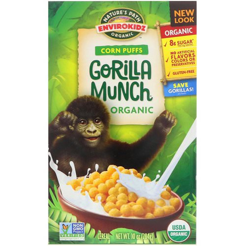 Nature's Path, EnviroKidz, Organic Corn Puffs Gorilla Munch Cereal, 10 oz (284 g) فوائد