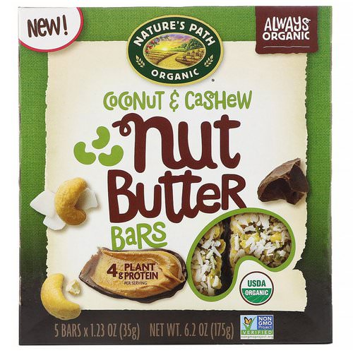 Nature's Path, Nut Butter Bars, Coconut & Cashew, 5 Bars, 1.23 oz (35 g) Each فوائد