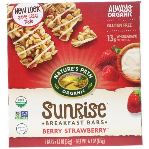 Nature's Path, Organic, Sunrise Breakfast Bars, Berry Strawberry, 5 Bars, 1.2 oz (35 g) Each فوائد