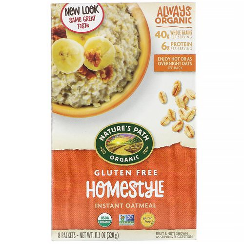 Nature's Path, Organic Instant Oatmeal, Homestyle, 8 Packets, 11.3 oz (320 g) فوائد