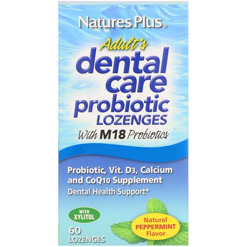 Nature's Plus, Adult's Dental Care Probiotic, Natural Peppermint Flavor, 60 Lozenges فوائد