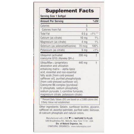 Nature's Plus, Beyond CoQ10, Ubiquinol, 200 mg, 60 Softgels:CoQ10, Ubiquinol