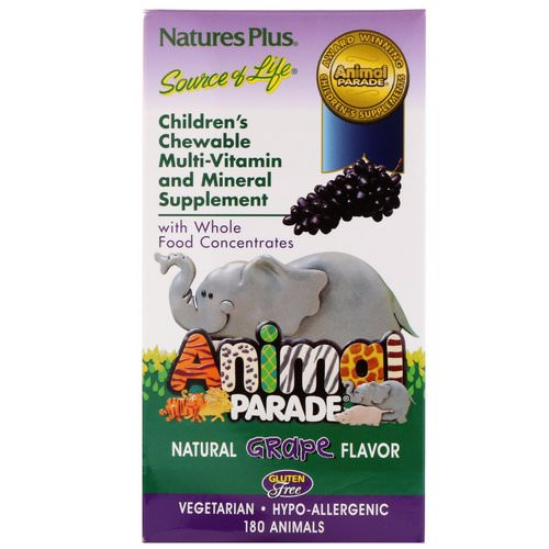 Nature's Plus, Children's Chewable Multi-Vitamin and Mineral Supplement, Natural Grape Flavor, 180 Animals فوائد