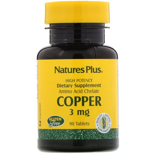 Nature's Plus, Copper, 3 mg, 90 Tablets فوائد