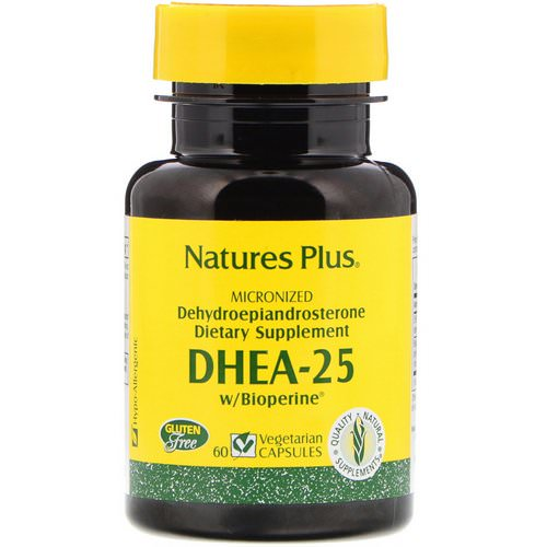 Nature's Plus, DHEA-25 With Bioperine, 60 Vegetarian Capsules فوائد