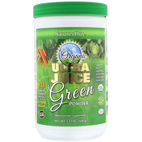 Nature's Plus, Organic Ultra Juice Green Powder, 1.32 lbs (600 g) فوائد
