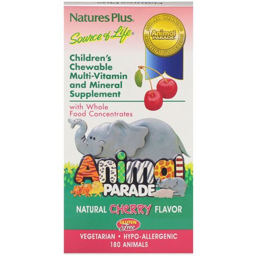 Nature's Plus, Source of Life, Animal Parade, Children's Chewable Multi-Vitamin and Mineral Supplement, Natural Cherry Flavor, 180 Animals فوائد