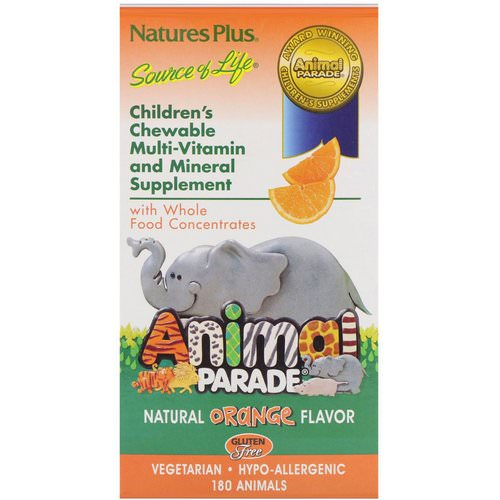 Nature's Plus, Source of Life, Animal Parade, Children's Chewable Multi-Vitamin and Mineral Supplement, Natural Orange Flavor, 180 Animals فوائد