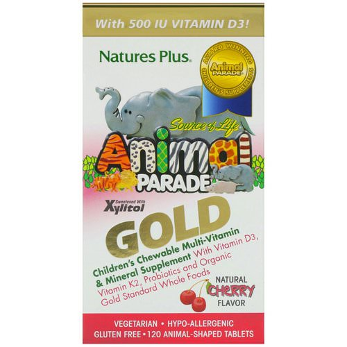 Nature's Plus, Source of Life Animal Parade Gold, Children's Chewable Multi-Vitamin & Mineral Supplement, Natural Cherry Flavor, 120 Animal-Shaped Tablets فوائد