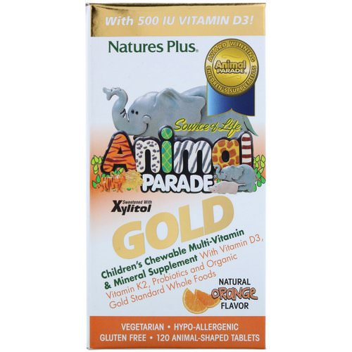 Nature's Plus, Source of Life, Animal Parade Gold, Children's Chewable Multi-Vitamin & Mineral Supplement, Natural Orange Flavor, 120 Animal Shaped Tablets فوائد