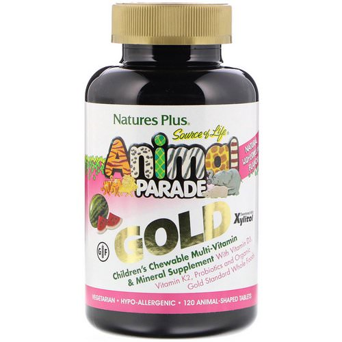 Nature's Plus, Source of Life, Animal Parade Gold, Children's Chewable Multi-Vitamin & Mineral Supplement, Watermelon, 120 Animal-Shaped Tablets فوائد