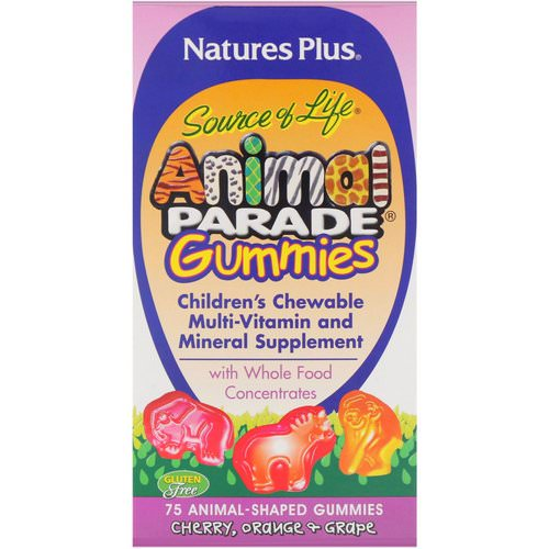 Nature's Plus, Source of Life, Animal Parade Gummies, Children's Chewable, Cherry, Orange & Grape, 75 Animal-Shaped Gummies فوائد